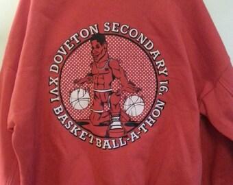Vintage Sweatshirt 90s Basketball Red 'Doveton Secondary School 91 Basketball-a-thon' Mens XL