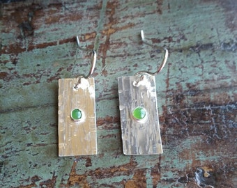 The Cathy. Handcrafted Sterling Silver earrings with Jade Cabachons.