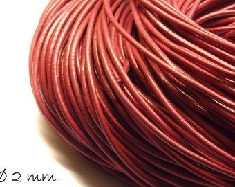 5 m leather strap cherry red, Ø 2 mm