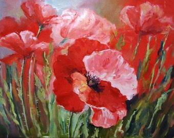 "Oil Painting ""Poppies""  Original painting Flower wall art Home decor wall art Kitchen décor"