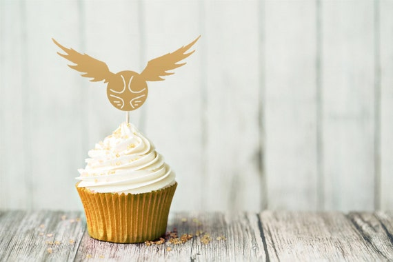 Harry Potter Cupcake Topper Golden Snitch by AlohomoraPaperCo