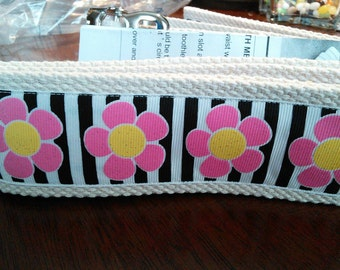 Pink Flowers on stripes