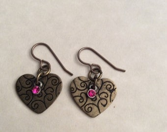 Heart vintage earrings