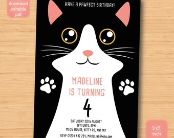 cat, kitty, kitten birthday invitation - SELF EDITABLE PDF - 5 x 7 inch Customisable Printable Birthday Party Invite - Instant Download