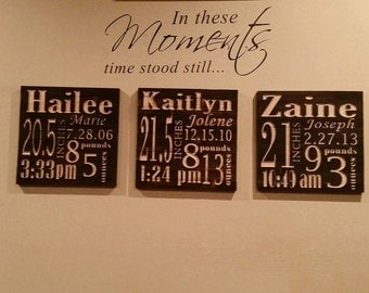 Custom Wood Birth Announcement Made With Rustic Up Cycled Reclaimed Lumber - Great for New Baby and Shower Gift 16.5 x 16.5