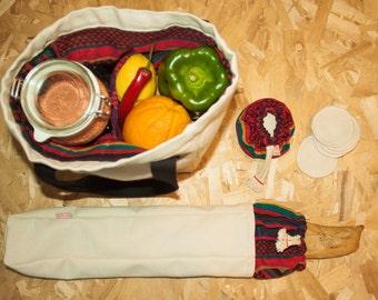 The market 2-compartment bag + bag chopsticks + 5 cottons bio bifaces