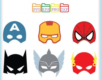 Superhero SVG,Mask,Captain America,Ironman,Spiderman,Batman,The Flash,Thor,Superhero Mask,Super Hero Svg,Cameo Files, Svg Files For Cricut