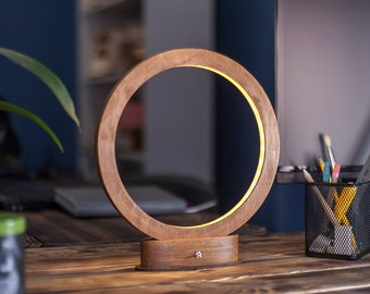 Led lamp RING, minimalist desk lamp, wooden lamp