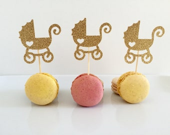 Set of 12 Baby Stroller cupcake Toppers- Baby Stroller cupcake topper - gold stroller toppers- cupcake toppers - toppers- stroller toppers