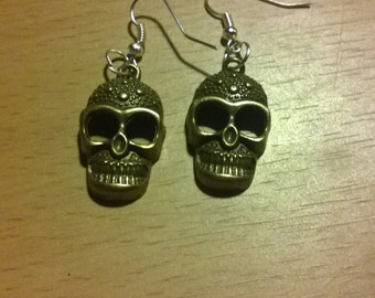 Bronze Skull Earrings
