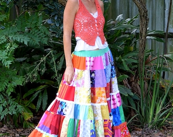 You are Magnificent -Patchwork Rainbow Skirt size Small - Medium