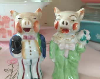 BRIDE And GROOM Victorian Pig Salt and Pepper Shakers