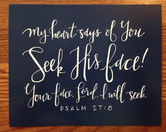 seek His face || hand lettered print