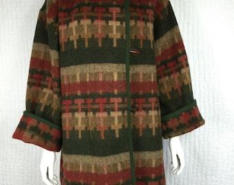 Vtg 70s southwestern navajo native american inspired tribal ethnic like pendleton jacket coat blanket saltillo