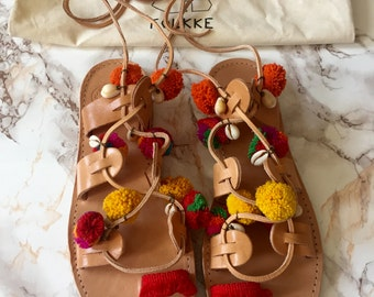 Boho Bohemian Folkke Greek sandals Leather Gladiator sandals