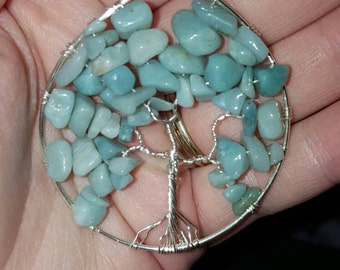 Amazonite tree of life stone necklace