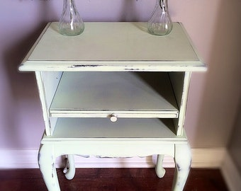 Vintage /Rustic Mint Green Nightstand / End Table/ Shabby Chippy Plant Stand