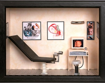 Personalized gift for gynecologist. Miniature custom made gynecologist's office.