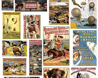 Circus Posters Digital Collage sheet, Vintage, Various Sizes