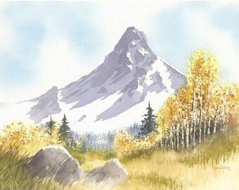 Greeting/Note Card Set of 5-Print of Original Mt. Hood Meadow Watercolor Painting