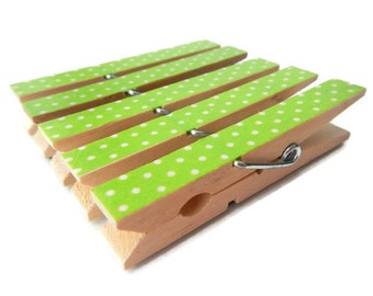 Green Clothespin Magnets. Decorative Clothespins. Fridge Magnets. Green Polka Dot. Clothespin Magnets. Refrigerator Magnets. Magnet Clips.