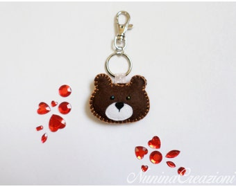 Padded Teddy keychain snap hook with ring