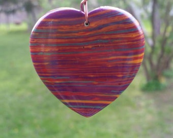Dyed Turquoise Rainbow Heart Necklace