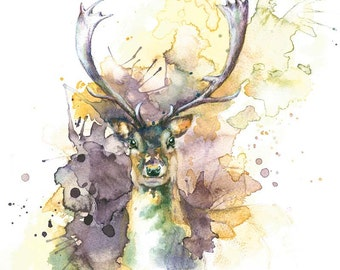 Stag Art Print, Stag Illustration, Stag Painting, Deer Print, Stag Wall Art, Watercolour Stag Print, Digital Stag Print, Deer Painting Print