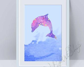 Dolphin, Poster Art - Dolphin watercolor art, Home Decor, Nursery Art Decor, Dolphin Print Art, Animal Art