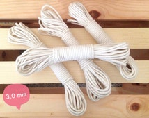 "3 mm (1/8"") Natural Cotton Braided Cord Rope for Macrame, Nautical Knots, Bulky Yarn, Macrame Cotton Cord"