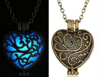 Steampunk Glow In The Dark Heart Locket Pendant