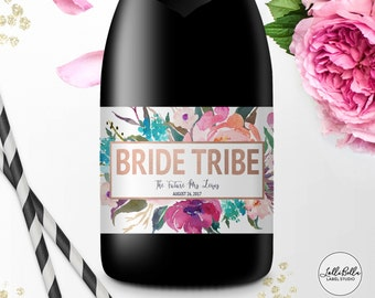 Bride Tribe Mini Champagne label, Mini Wine Label, Bachelorette Party, Custom, Engagement Party, Bridesmaid Gift Ideas, Be My Bridesmaid