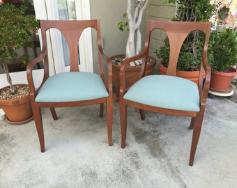 Mid Century Wood Chairs, Blue Padded Set Of Chairs, Living Room Furniture,  Sitting