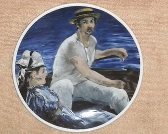"Schumann Edouard Manet * In The Sailing Boat * Collectors Plate (7.5"" Diameter) ~ Made in Bavaria"