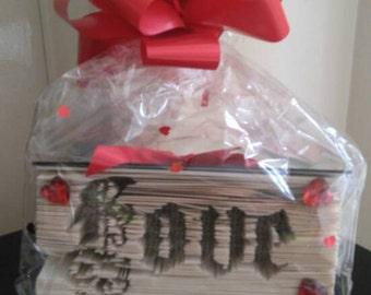 LOVE Cut and folded sideways into a book, hand decorated and then gift wrapped