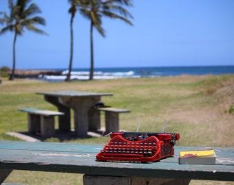 Scarlet Ash Red Corona Four Typewriter
