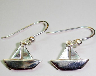 Earrings sterling silver paper boat