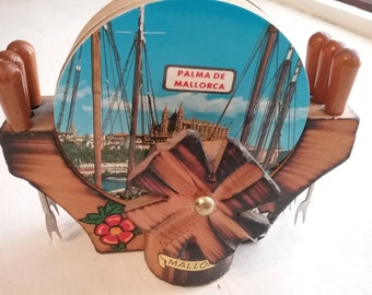 Vintage Coaster Set with Olive Forks, Set of 6 Tourist Kitsch, Mallorca Spain, 1980s? Wood Stand