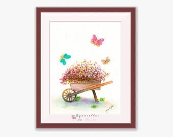 Wheelbarrow with Flowers, Farm Art, Farm Painting, Farm Art Painting, Wheelbarrow Painting, Antique Wheelbarrow, Wood Wheelbarrow, Kids Art