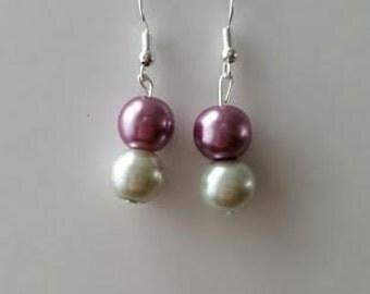 "Purple and White ""Pearl"" Earrings"