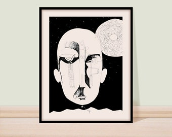 Wall art print, Black and white art, Giclee print, Fine art, Urban art, Pen and  ink drawing, figure drawing, line art, Child with a kite.