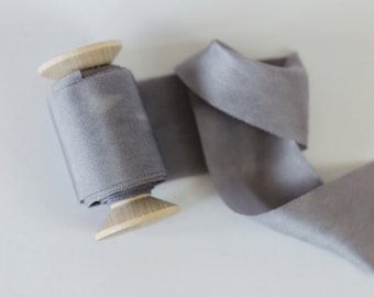 Silk ribbon - dolphin grey 4.5cm width
