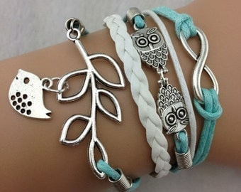 Bird and Branch Owl and Infinity Multi Layer Teal Bracelet