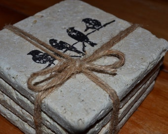 Little Birds Hand Made Tile Coasters