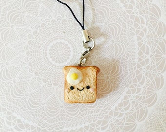 Kawaii Polymer Clay Toast with Egg Charm/ Cell Phone Strap