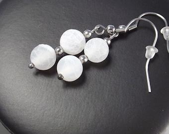 Gemstones agate earrings white crackling agate