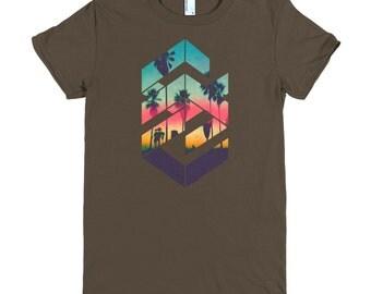 Geometric Sunset beach T-shirt - L08