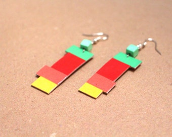 """Paper earring  """"Indiguirka"""" - Coloured rectangles, and square green pealr //"""