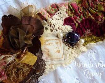 Gypsy cuff, Bohemian, Gypsy tattered, Wearable Art, Vintage Inspired, Ruffled, Bracelet, Wristlet, Romantic, Textile Jewelry, Tattered Lace