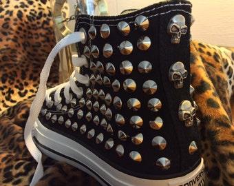 Converse all star studded skulls